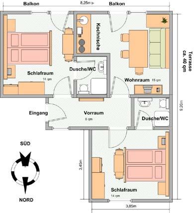 Grundriss wohnung  Wohnung B - Ferienwohnungen und Appartements Haus Enzian in ...